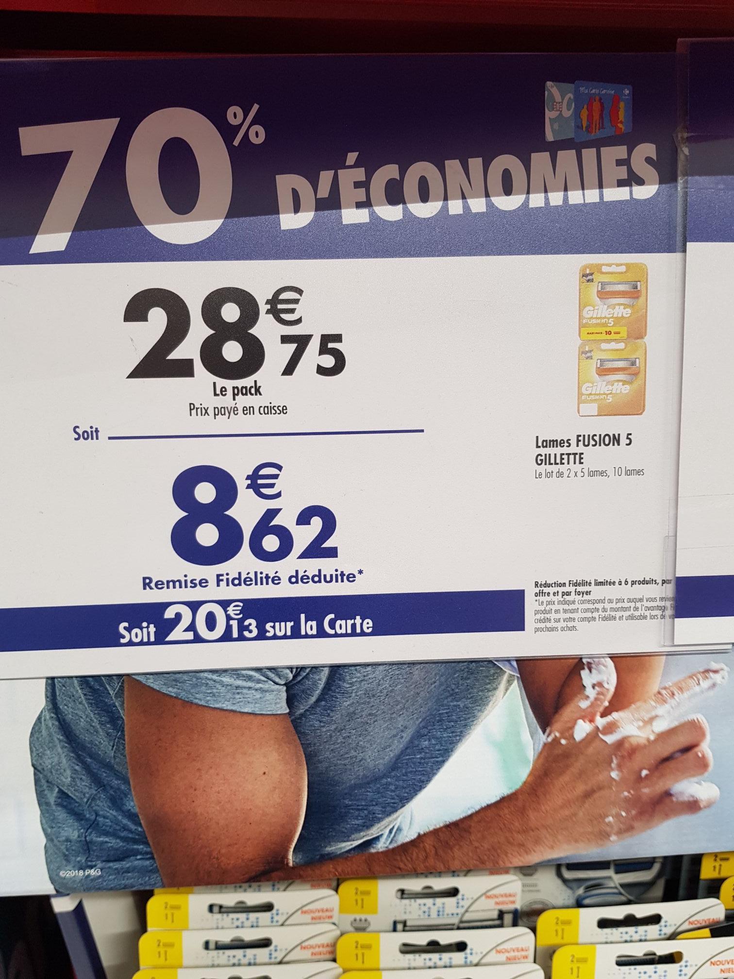 10 Lames de rasoir Gilette Fusion 5 (via 20.13€ sur la carte fidélité) - Villeneuve-la-Garenne (92)