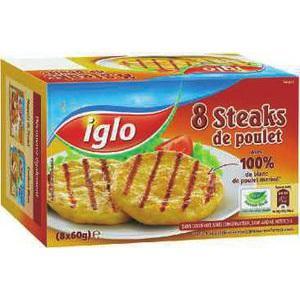 8 steaks de poulet Iglo (via BDR et Prixing)