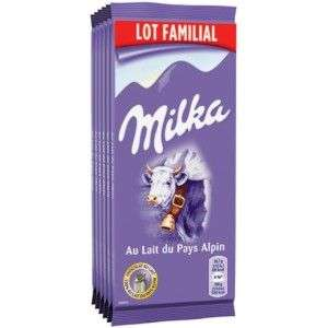 Lot de 6 tablettes de chocolat au lait du pays alpin Milka - 6x 100g (via 1.74€ sur la carte de fidélité)
