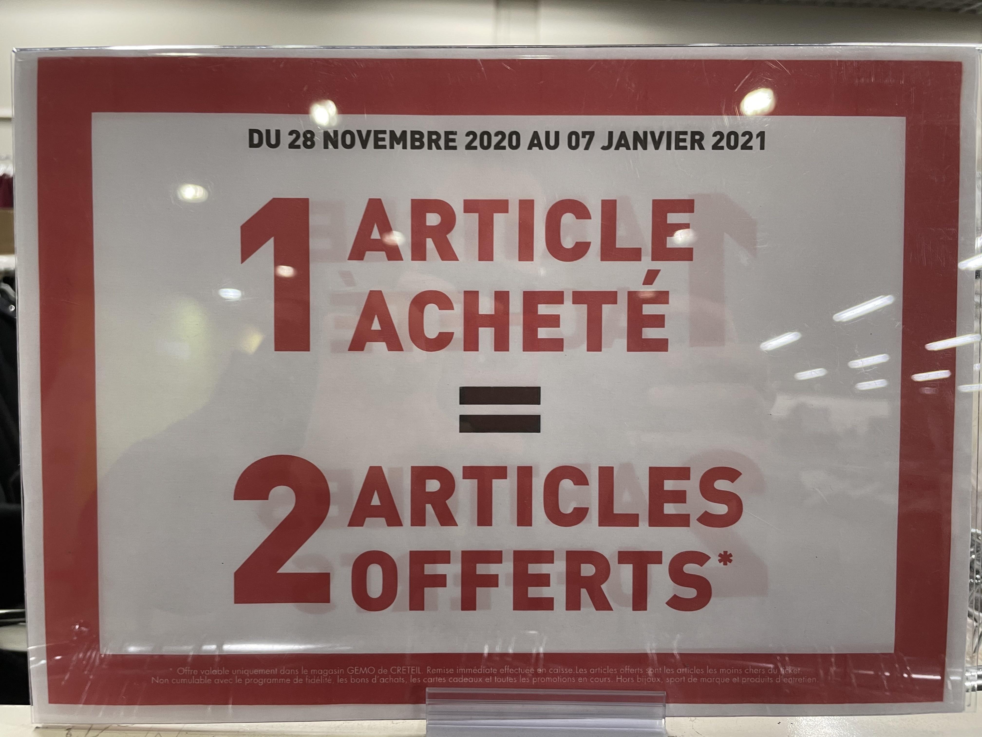 1 article acheté = 2 articles offerts (les moins chers) - Créteil (94)