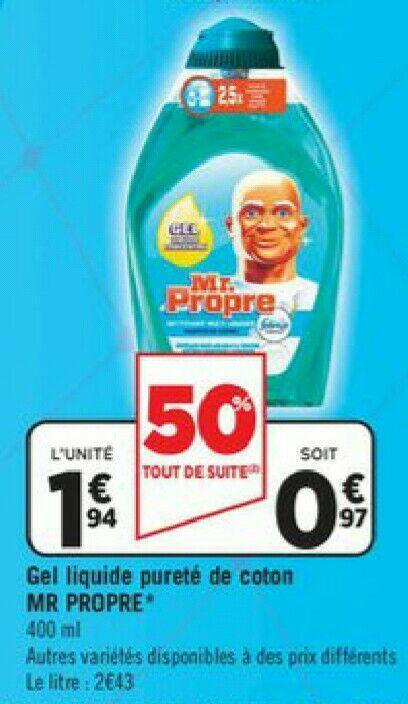 Gel nettoyant concentré Mr Propre pureté de coton (via BDR)