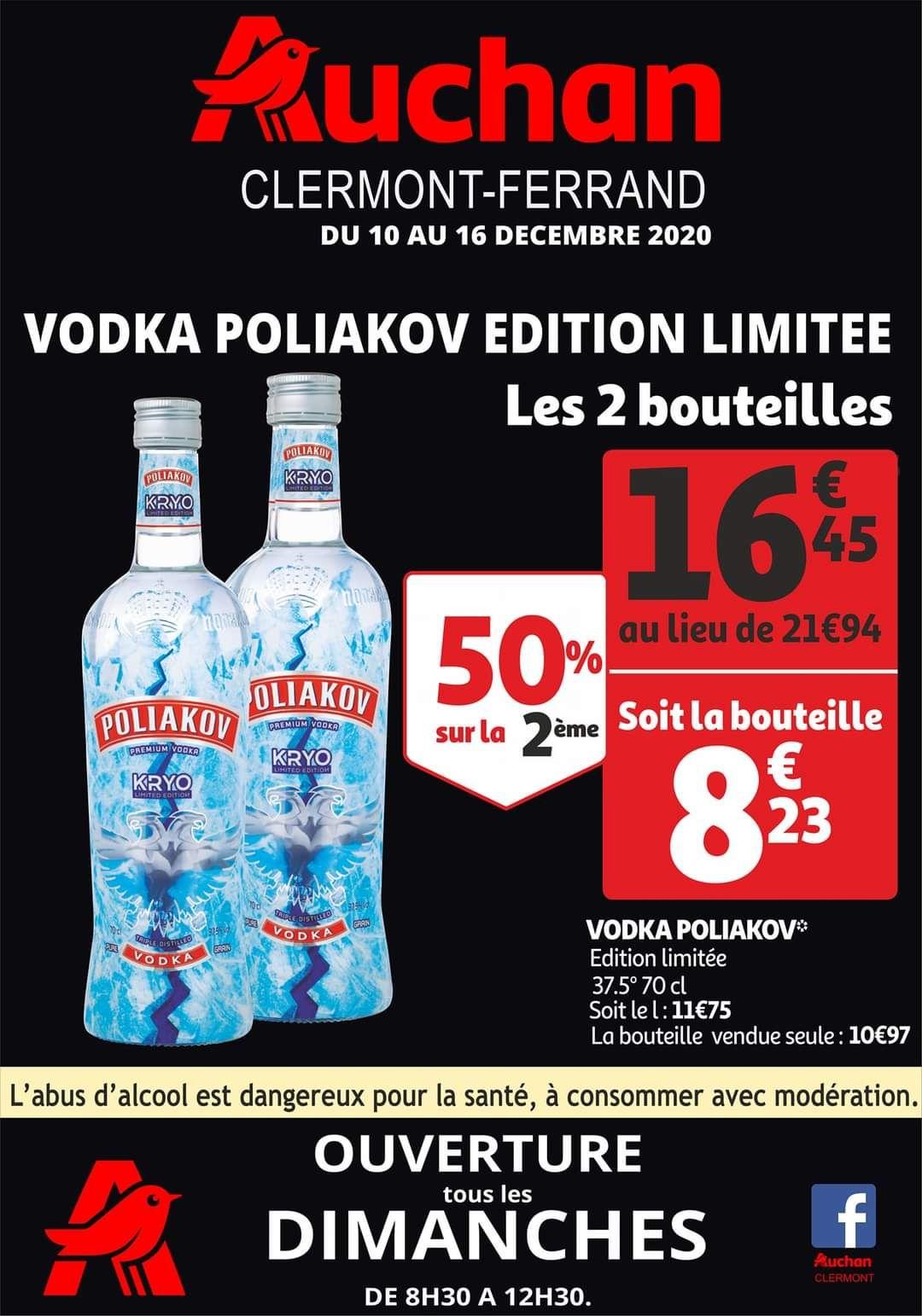 Sélection de produits en promotion - Ex : Lot de 2 bouteilles de Vodka Poliakov - Edition Limitée, 2 x 0.7 L - Clermont-Ferrand (63)