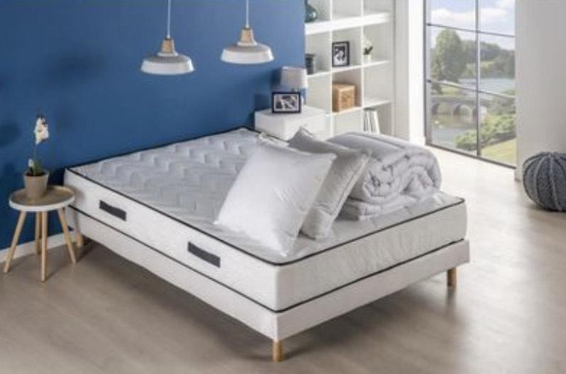 Pack pret à dormir Relax Deko Dream - Matelas + sommier 140x190 + couette + 2 oreillers