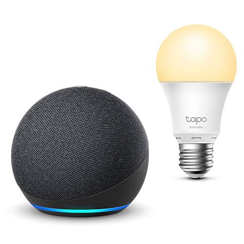 Assistant Vocal Echo Dot (4ème génération) + Ampoule Connectée TP-Link Tapo
