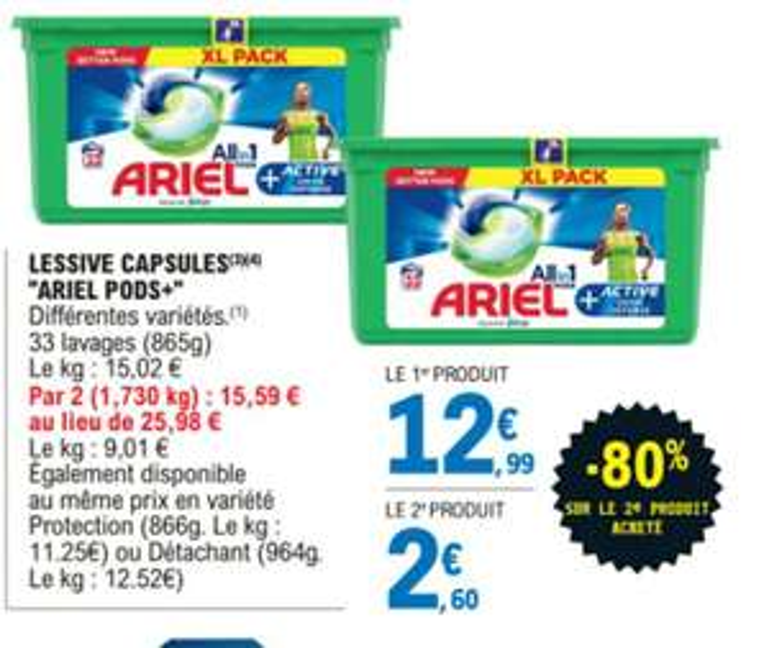 Lot de 2 packs de Lessive Ariel Pods (x33)