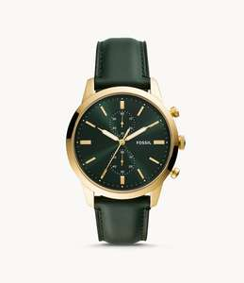Montre chronographe FOSSIL TOWNMAN cuir pour hommes - Vert