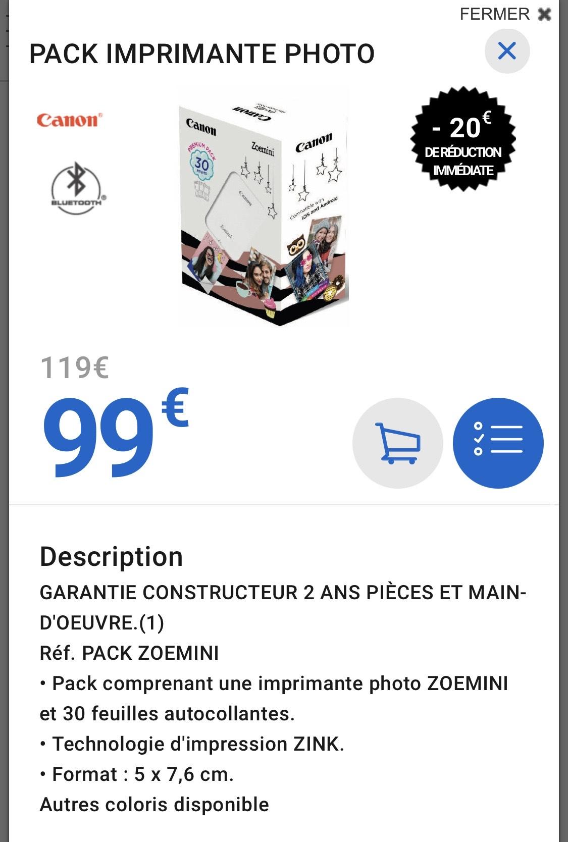 Pack Imprimante Photo Canon ZOEMINI