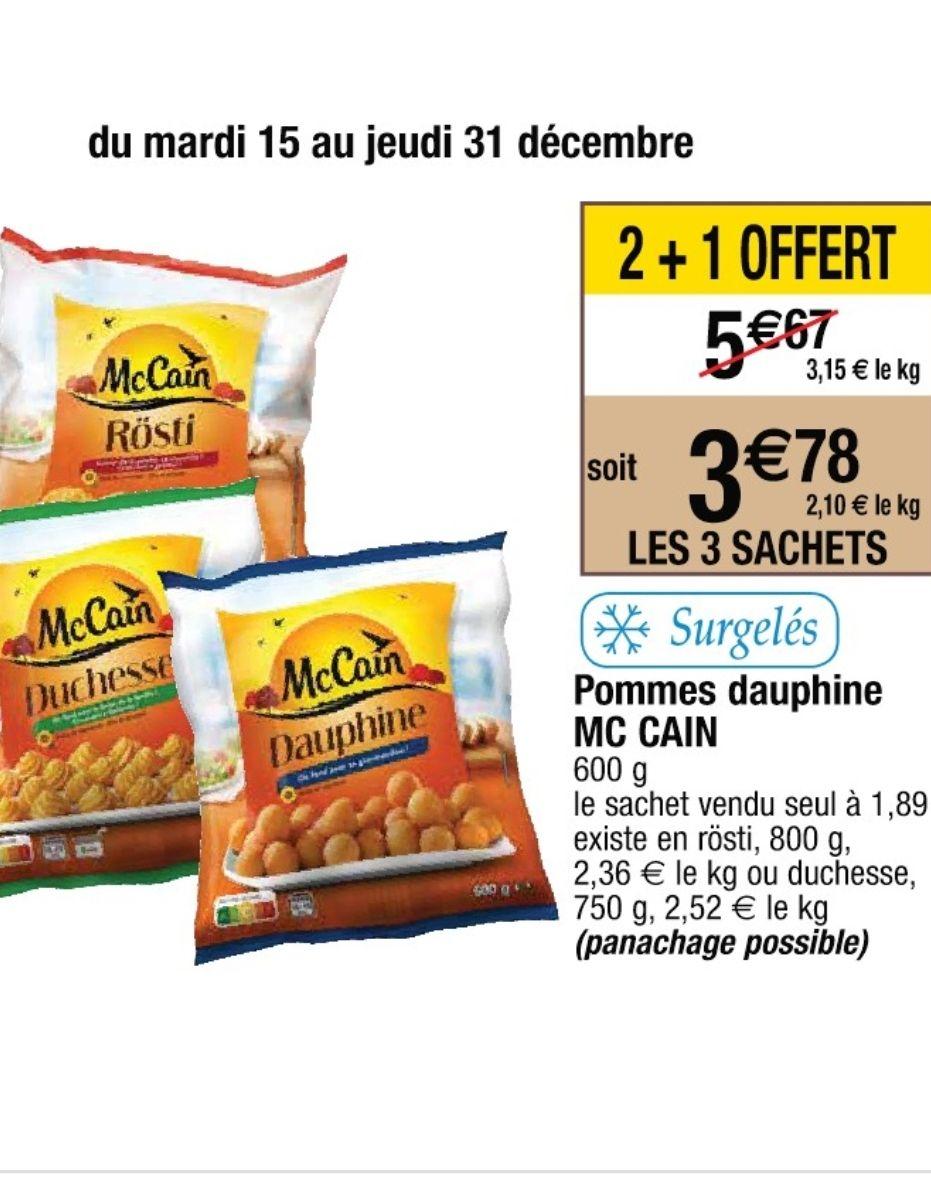 Lot de 3 paquets de pommes dauphine Mc Cain - 600g