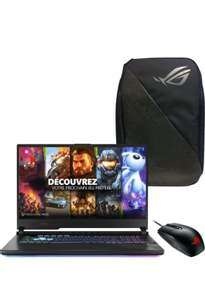 "PC Portable 17.3"" Asus ROG STRIX-G17-G712LW-EV063T - Full HD 144Hz, i7-10750H, SSD 1 To, RAM 16 Go, RTX 2070 (8 Go), W10 + Backpack + Souris"
