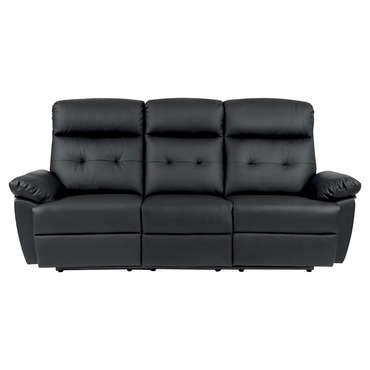 Canapé de relaxation manuel 3 places Lina coloris noir