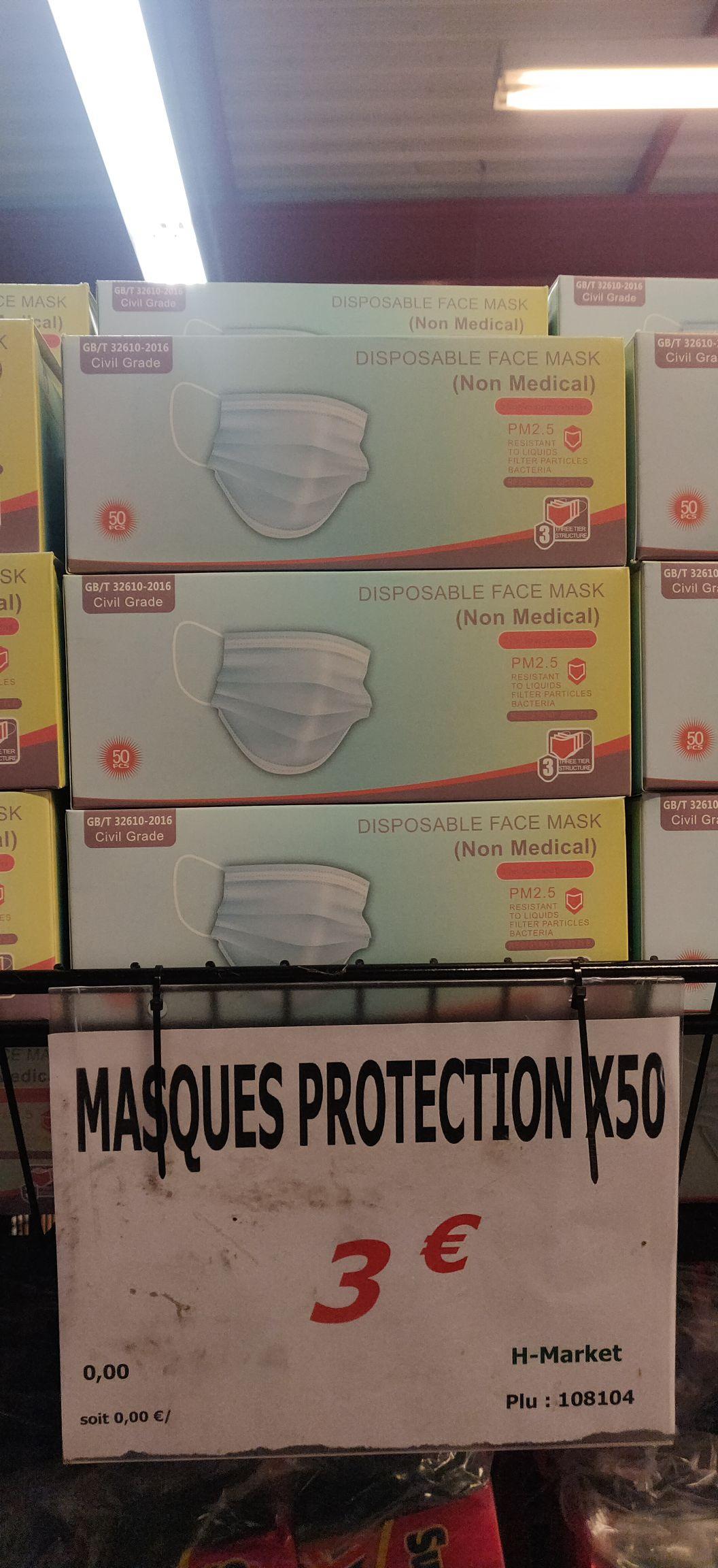 Paquet de 50 Masques de protection (non médical) - H Market Pontault Combault (77)