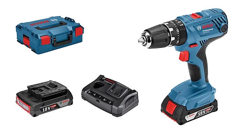 Perceuse Visseuse à percussion Bosch Professional GSB 18V-21 + 1 batterie 2Ah + 1 batterie 4Ah + 25 accessoires + mallette