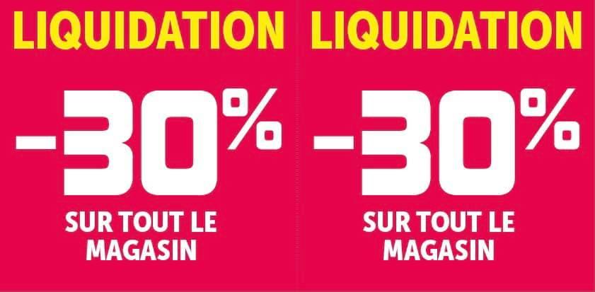 30% de réduction sur tout le magasin - Les Herbiers (85)