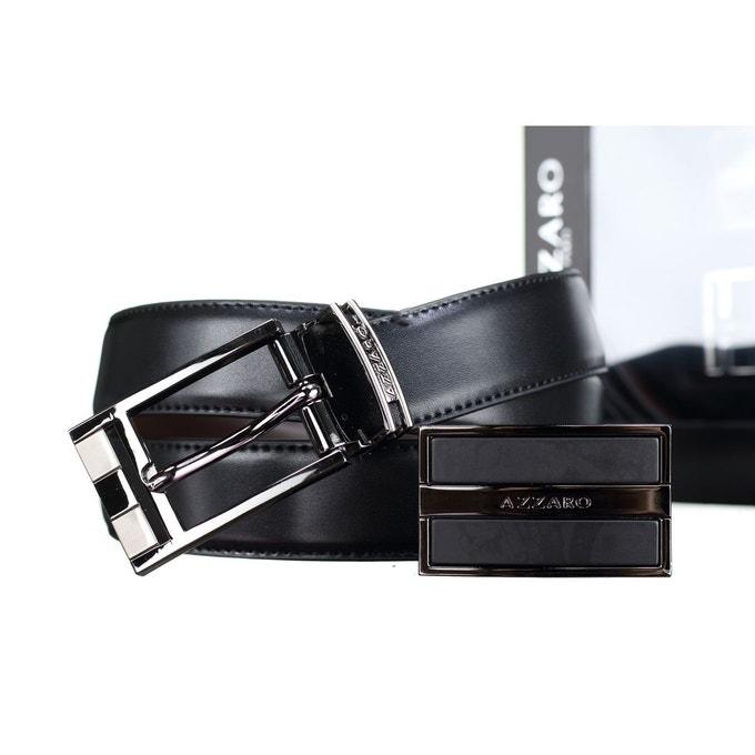 Coffret ceinture Azzaro en cuir réversible - Noir/Marron, deux boucles interchangeables (vendeur tiers)