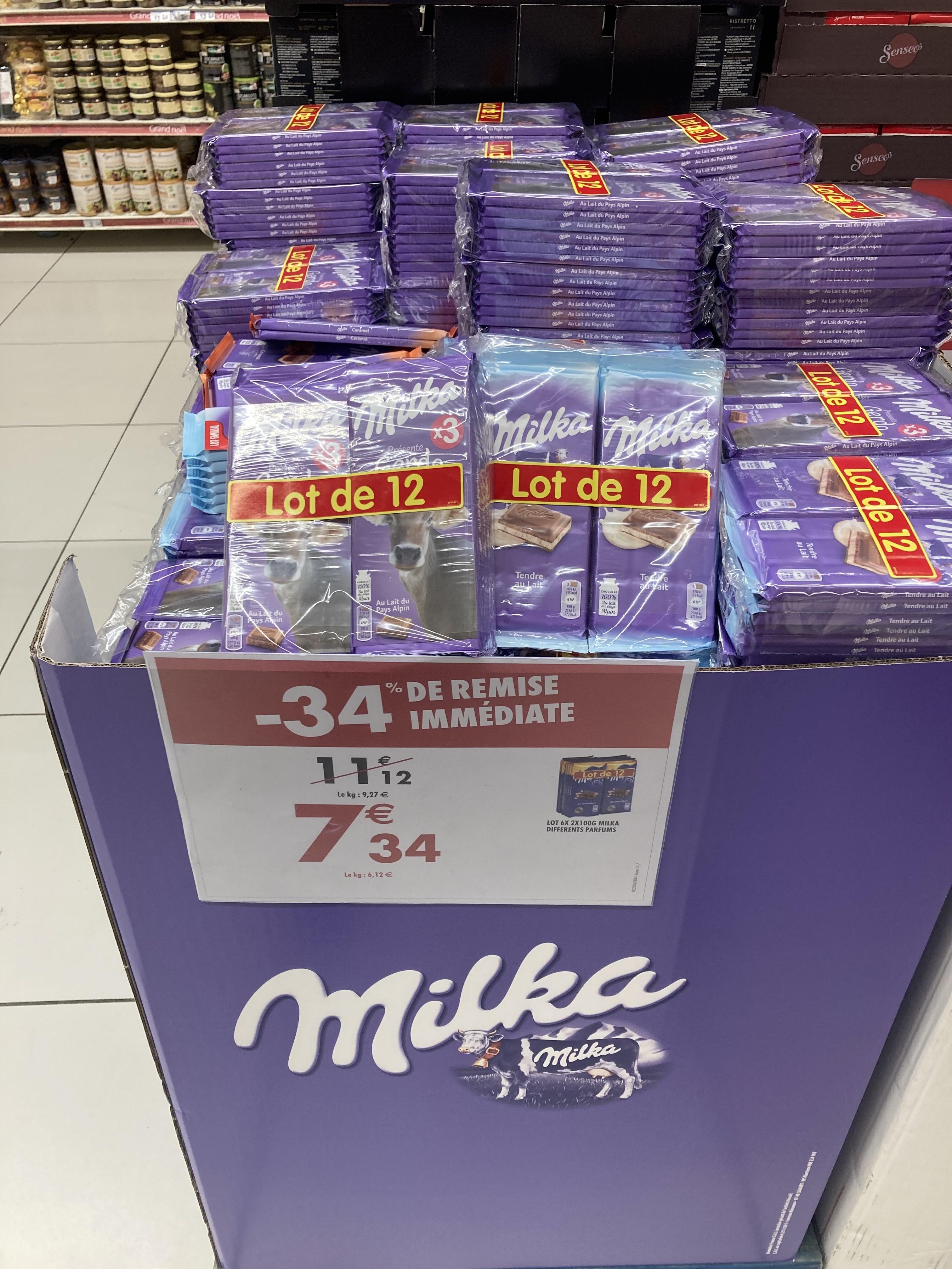Lot de 12 Tablettes de Chocolat Milka, différents parfums - Quartz de Villeneuve-la-Garenne (92)