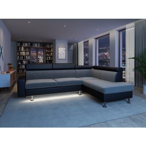 Canapé d'angle 4-5 places Tomy avec LED - Simili Noir, Microfibre grise