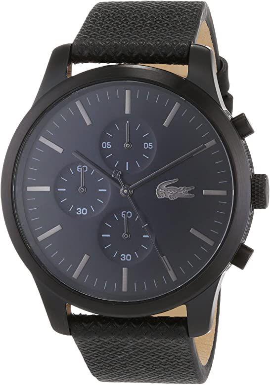 Montre chronographe Lacoste 2010947 - avec bracelet en cuir, noir