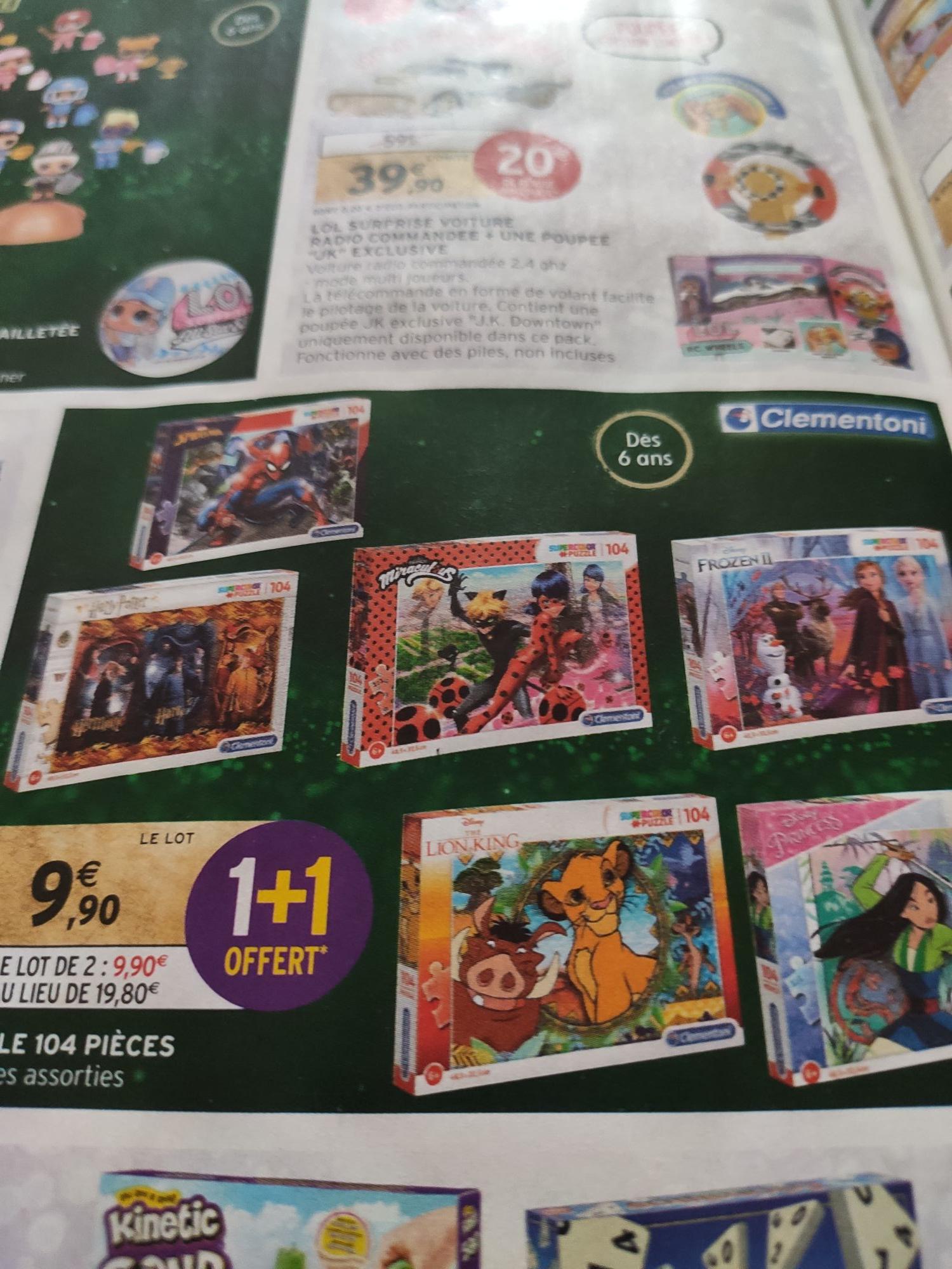 Lot de 2 puzzles Clementoni (parmi une sélection)