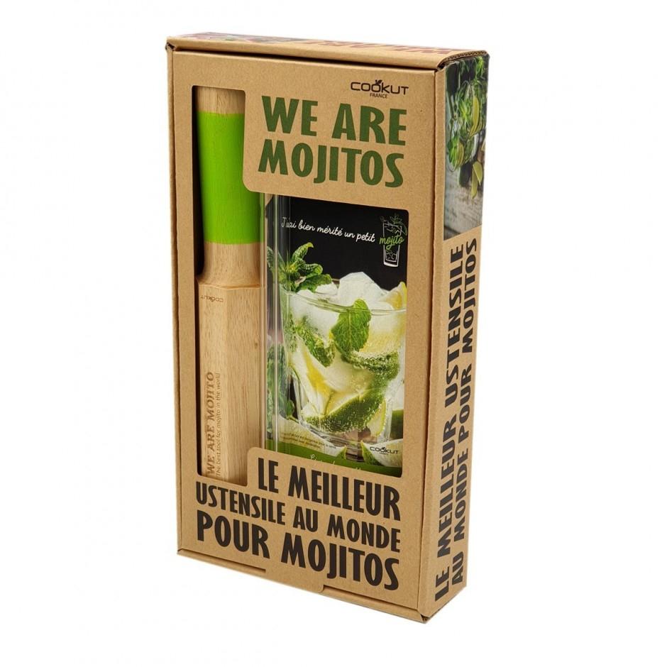 Coffret Cookut Mojitos : pilon-doseur + pailles en verre + un livre