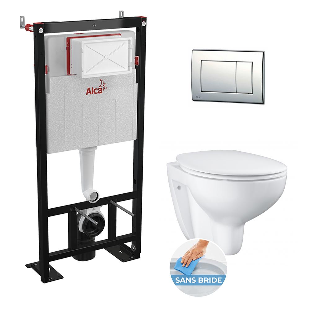 Set WC Suspendu autoportant Grohe Alcaplast Set - Bau Ceramic sans bride, Tout en un