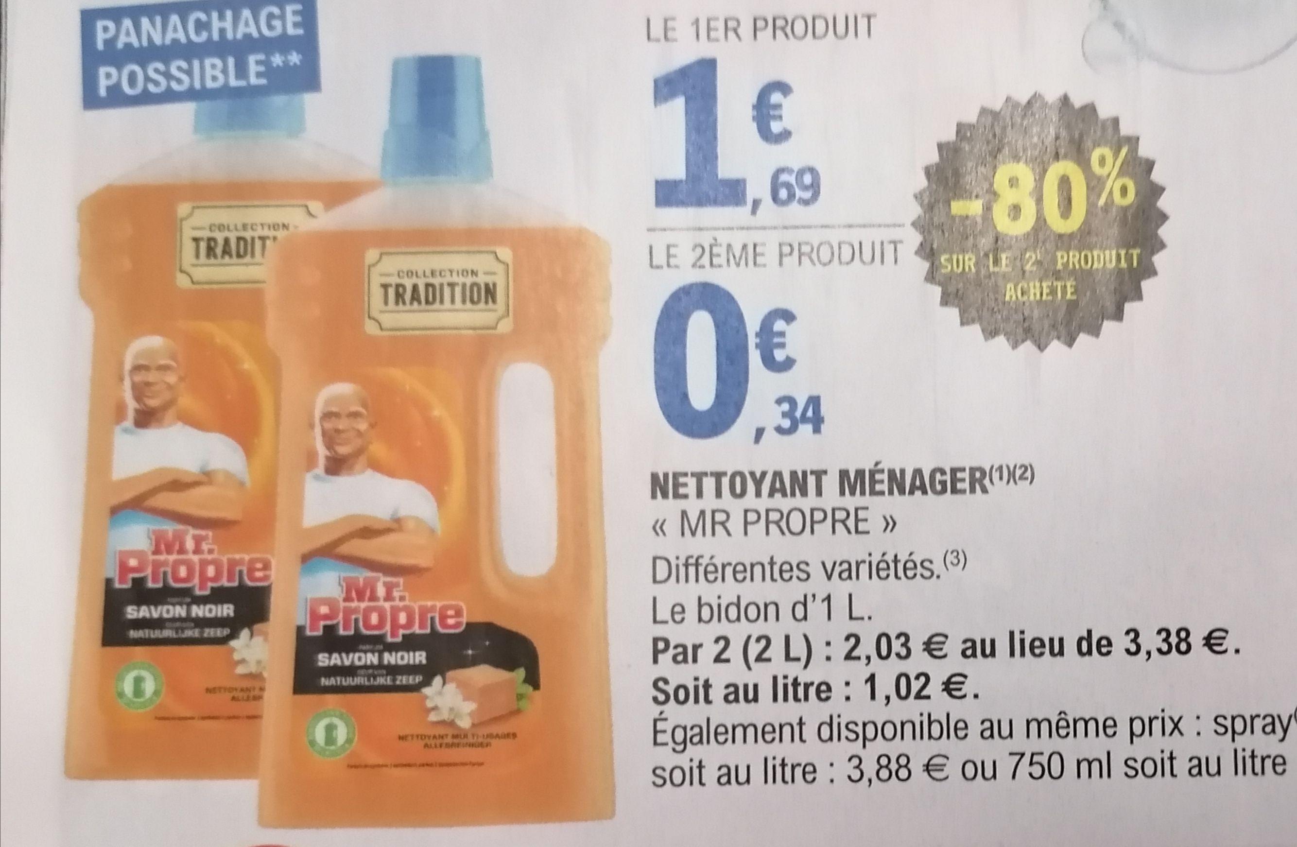 Lot de 2 Bidons de Nettoyant ménager Mr Propre - 2x 1L, Différentes variétés (Sélection de magasins)