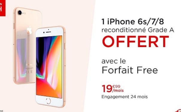 Smartphone Apple iPhone 6S, 7 ou 8 (Reconditionné) + forfait Free Mobile pendant 24 mois (appels/SMS/MMS Illimités + 100 Go DATA)