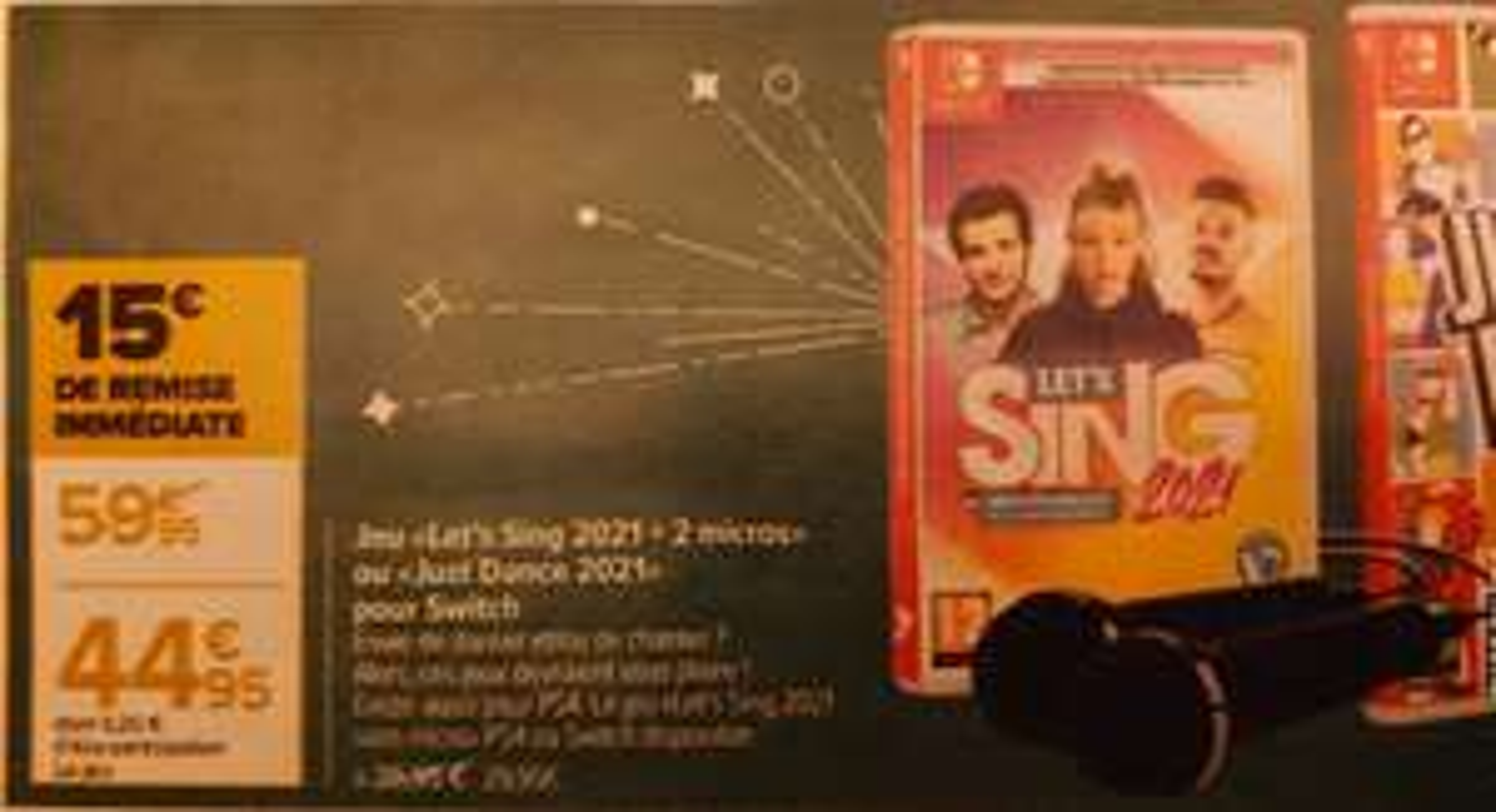 Let's Sing 2021 sur PS4 ou Switch (Version avec 2 micros ou Just dance 2021 à 44.95€)