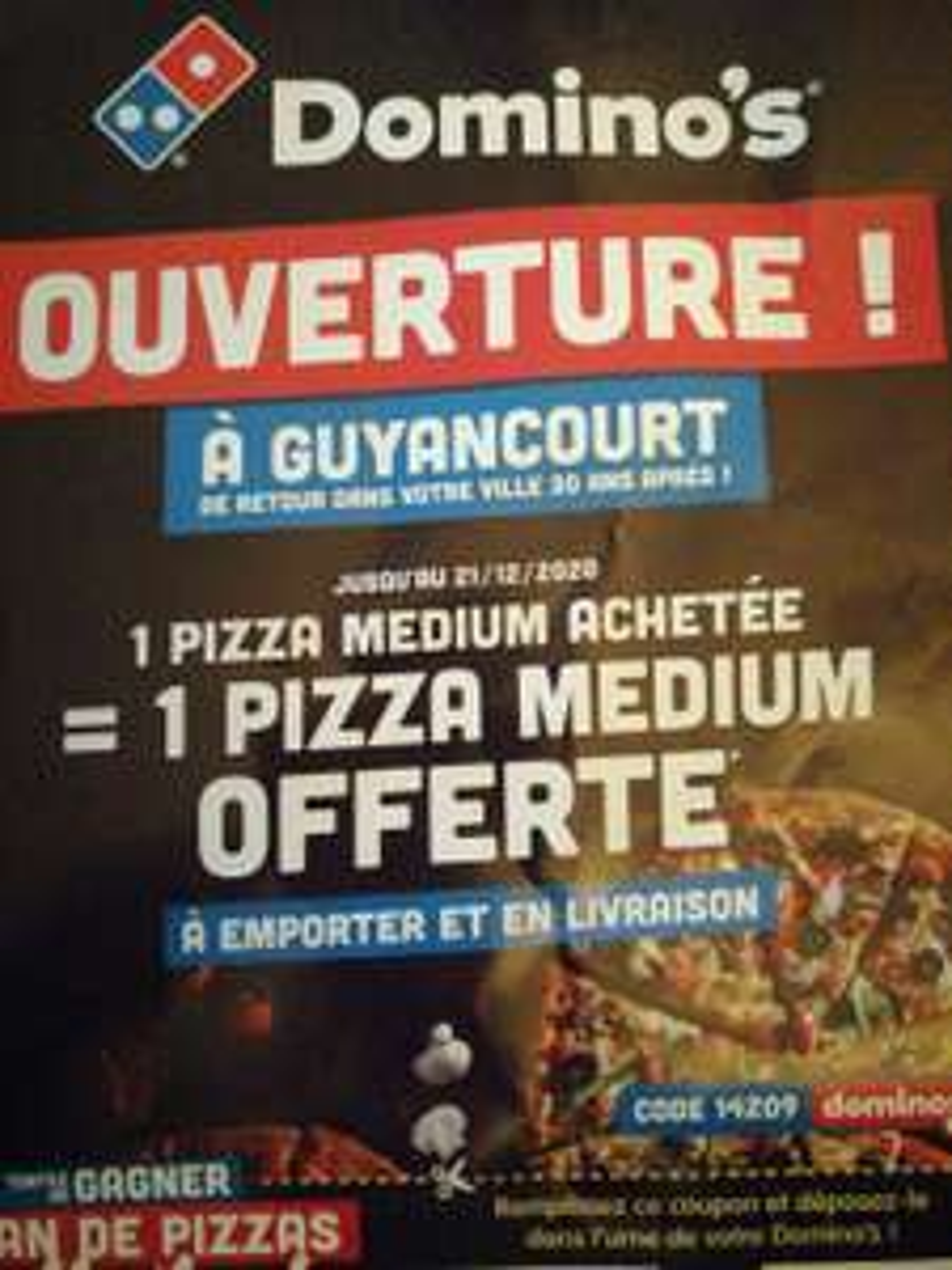 1 pizza médium achetée = 1 medium offerte - Guyancourt (78)