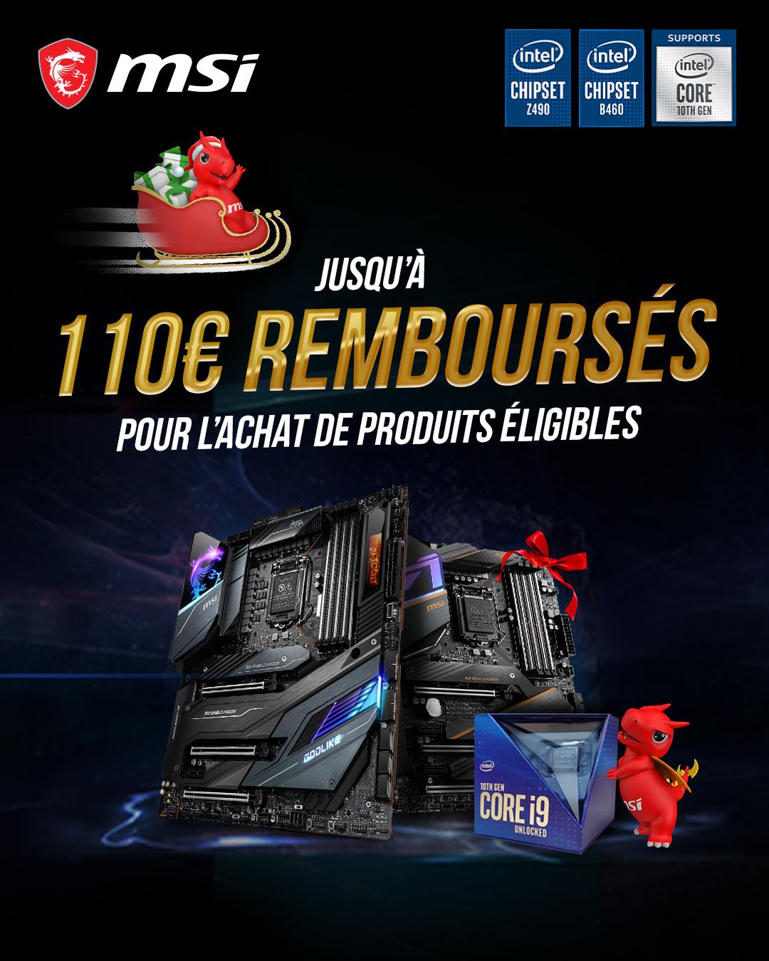 De 50 à 110€ remboursés pour l'achat d'un processeur Intel 10th + Carte Mère MSI (Via ODR)