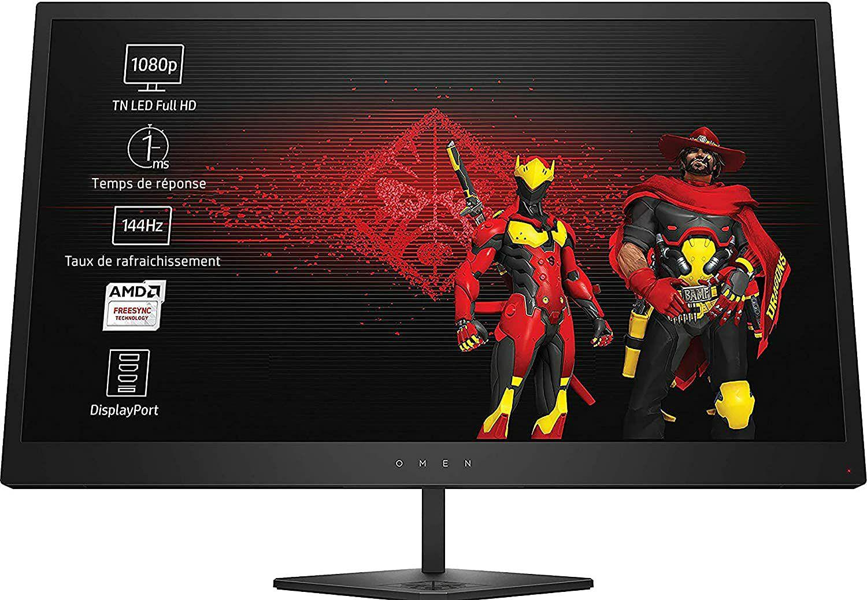 "Écran PC 24.5"" HP Omen 25 - FHD, 144Hz, 1ms, FreeSync, Dalle TN (Via Coupon)"