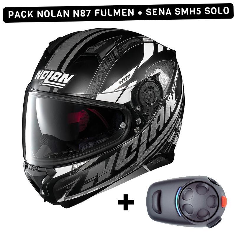 Pack Casque de moto Nolan N87 Fulmen + Kit Bluetooth Sena SMH5 Solo