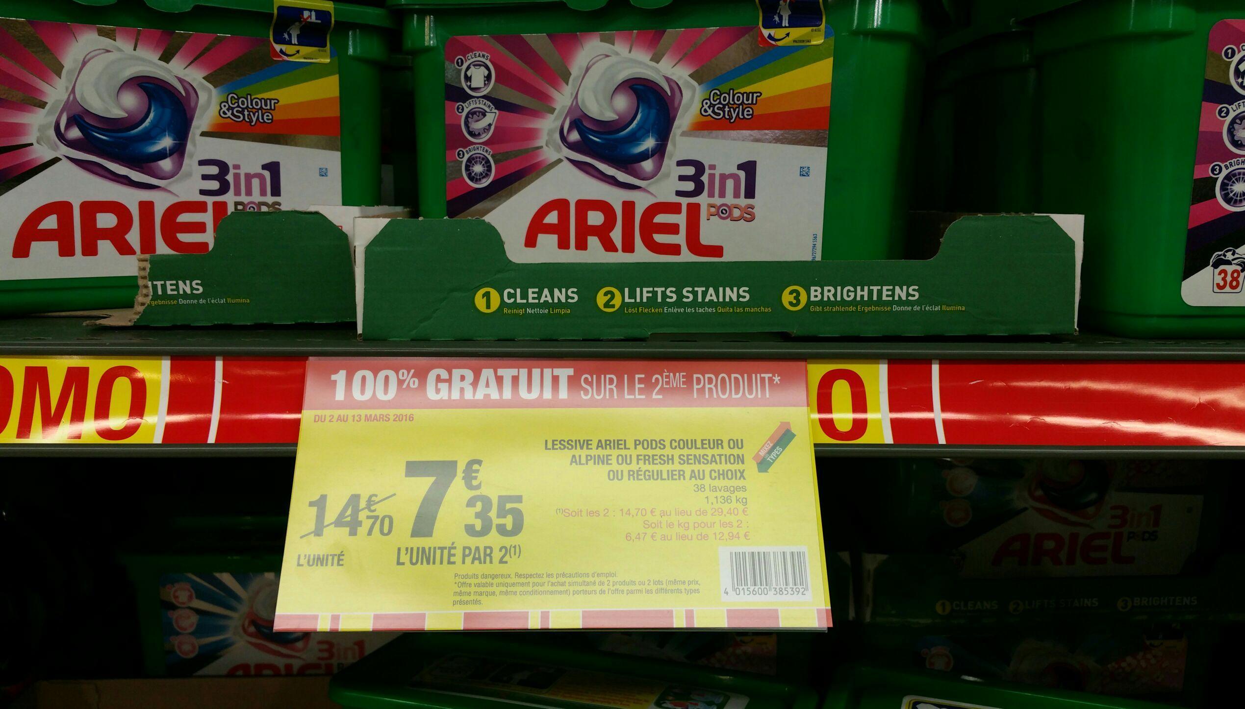 2 packs de 38 capsules de lessive Ariel 3-en-1
