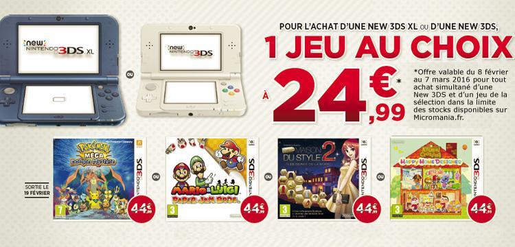Pour l'achat d'une Nintendo New 3DS, sélection de Jeux 3DS