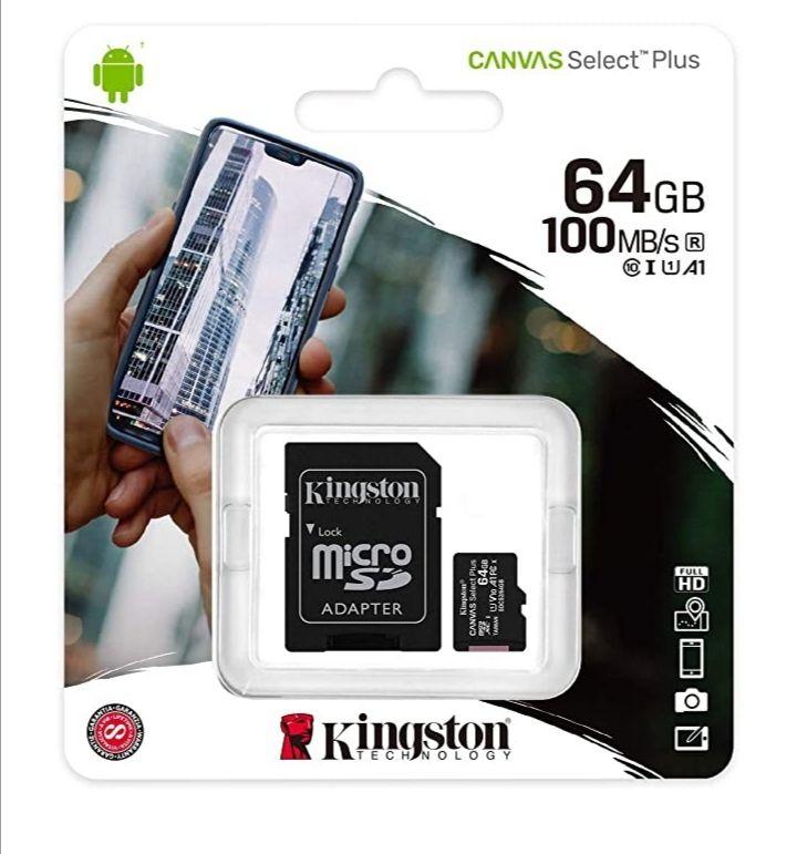Carte micro SDXC Kingston Canvas Select Plus - 64 Go + Adaptateur inclus (Vendeur Tiers)