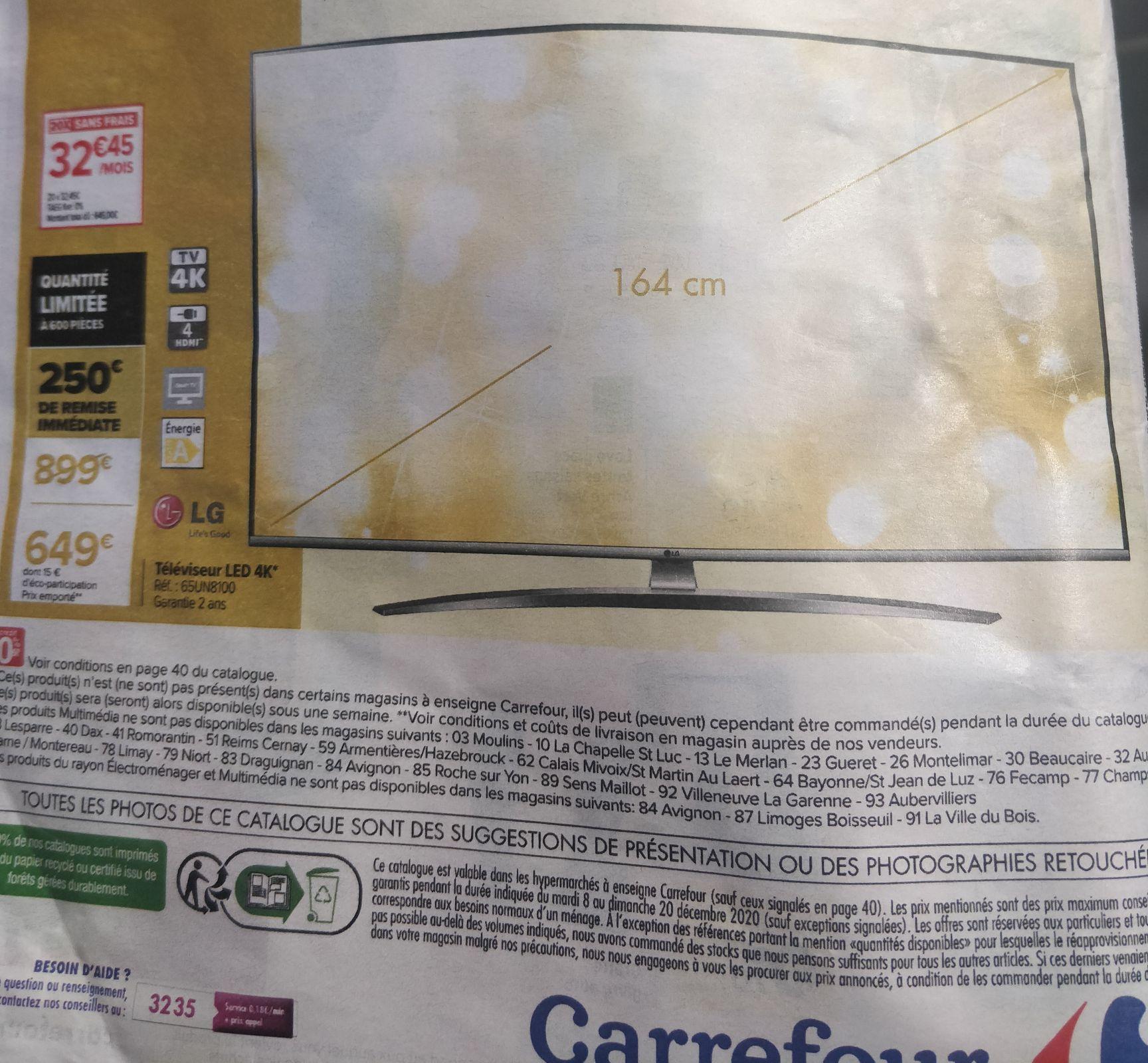 "TV 65"" LG 65UN8100 (2020) - 4K, 50 Hz (traitement 100Hz), HDR10 Pro, HDMI 2.0, Dolby Digital, Smart TV"