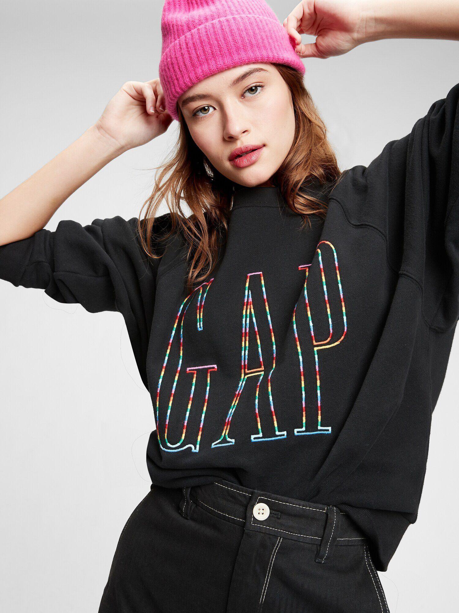 Sweat-shirt Gap Logo Raglan Crewneck - gris ou noir (du XS au XL)