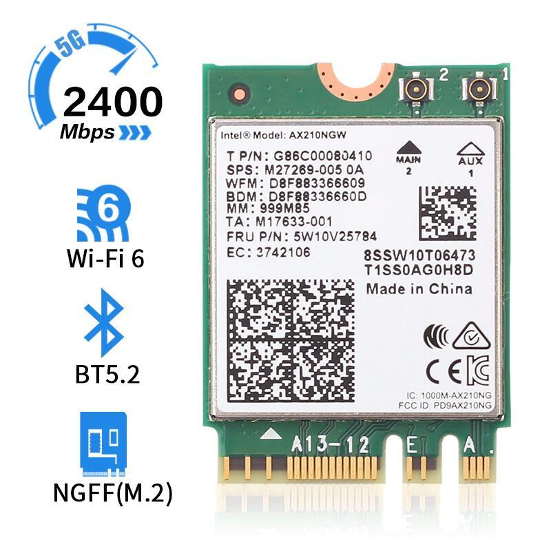 Carte Wi-Fi pour Intel AX210 - Bluetooth 5.2 & Wi-Fi 6