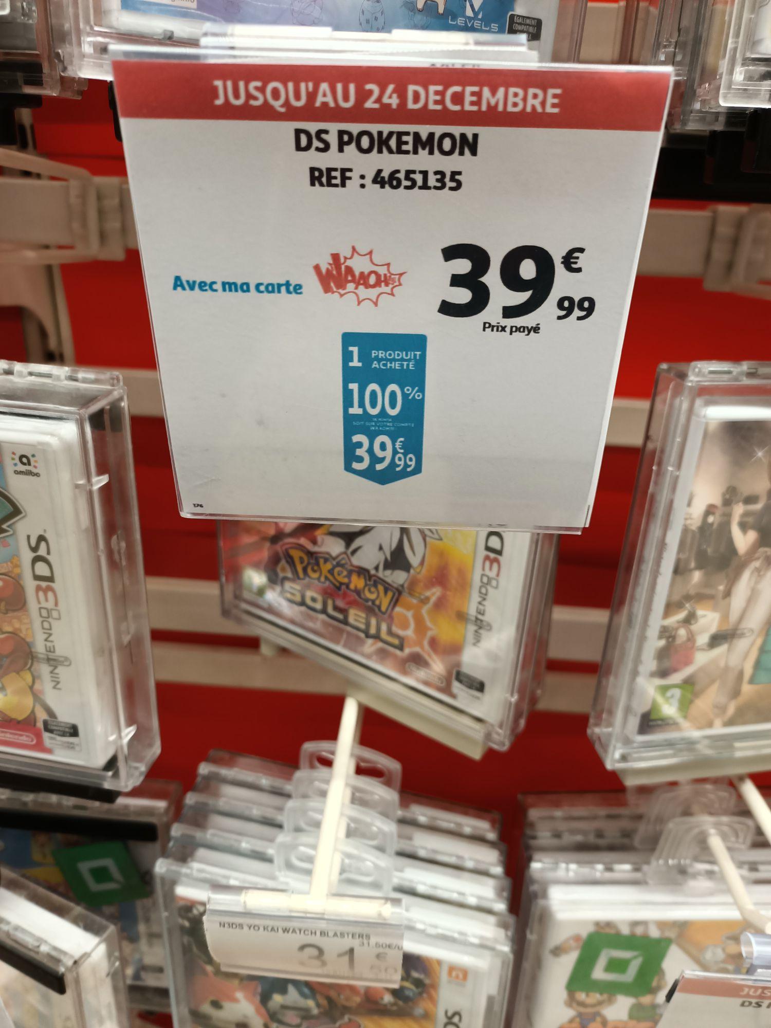 Sélection de jeux vidéo gratuits (100% remboursés sur la carte de fidélité) - Ex : Pokémon: Soleil sur 3DS (via 39.99€ fidélité) - Bias (47)