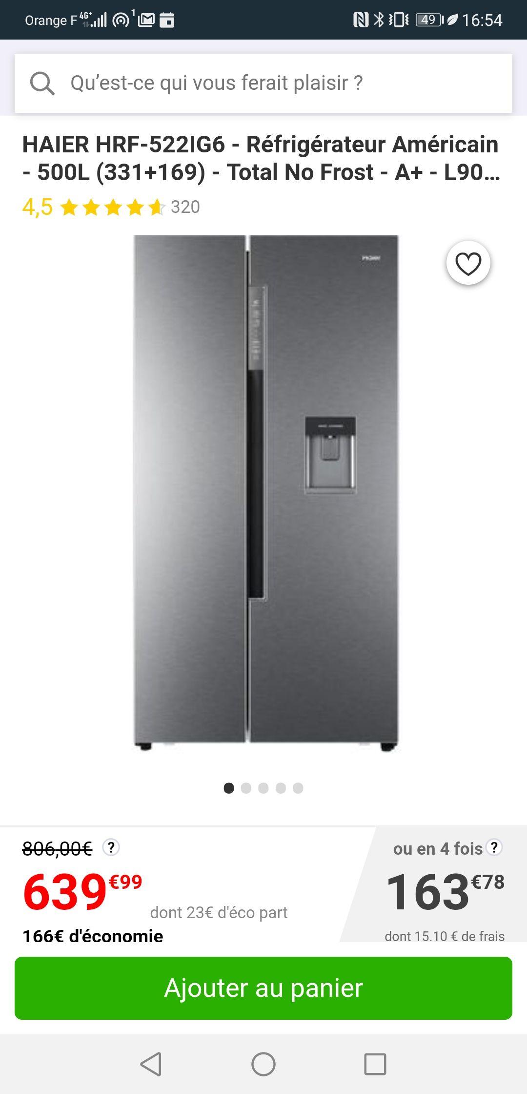 Réfrigerateur americain Haier HRF-522IG6 - 500L (331 + 169L), Total no frost, A+
