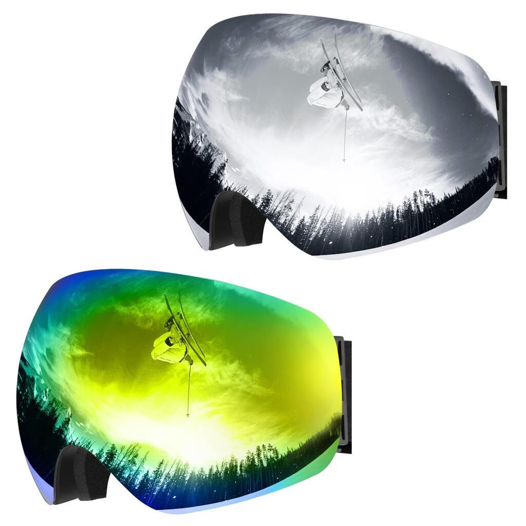 Masque de ski Omorc - UV400, Anti-buée, Vision 180°, Compatible casque, Bleu ou Gris (Vendeur tiers)