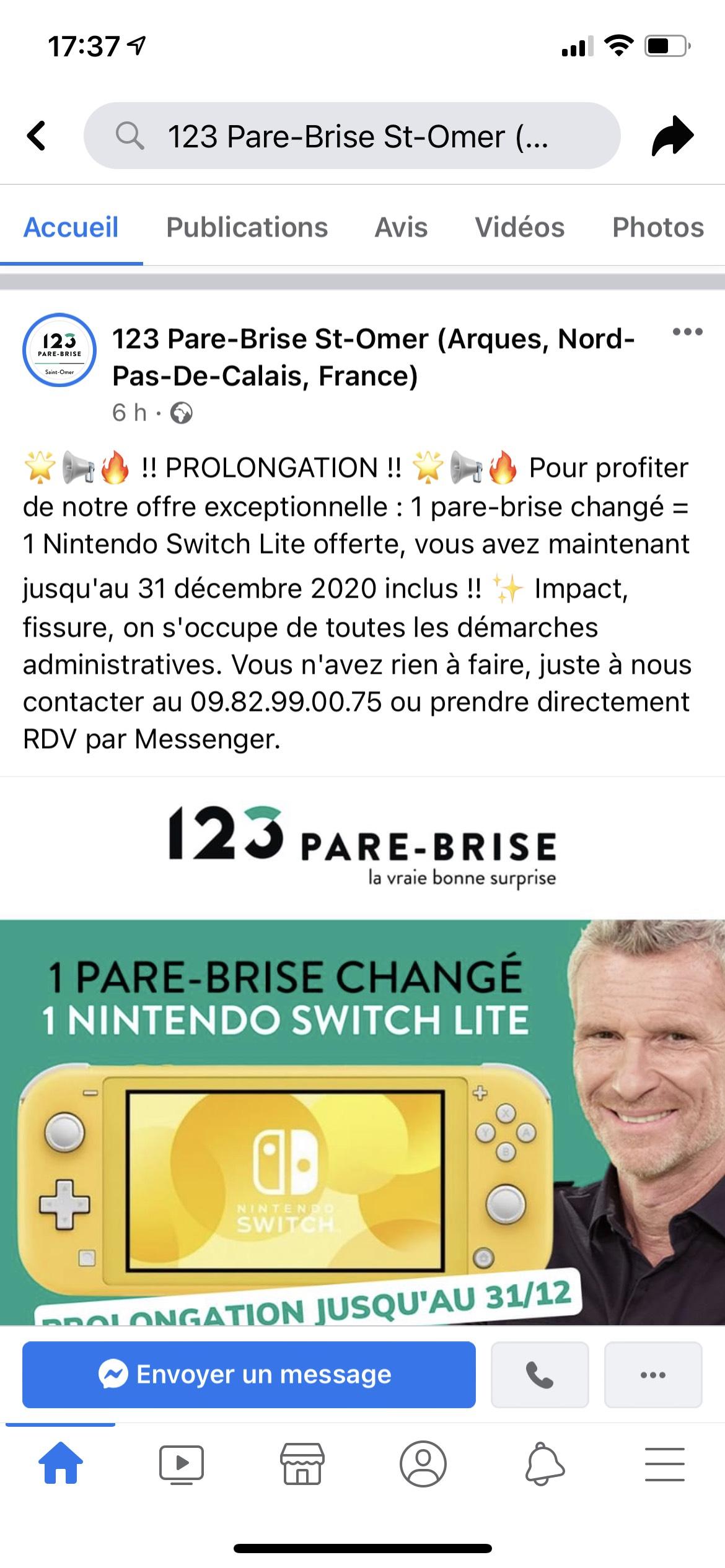 1 parebrise changé = 1 Nintendo Switch Lite offerte (123parebrise.fr)