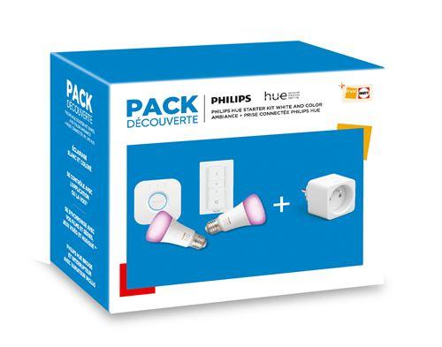 Pack Philips Hue: 2 ampoules connectées White and Color E27 + Prise connectée + Pont de connexion + Télécommande Dimmer