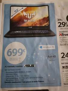 """PC Portable 17.3 """" Asus TUF705DT-AU044T - Full HD, Ryzen 5 3550H, 8 Go RAM, 256 Go SSD + 1 To HDD, GTX 1650, Windows 10 - Andrezieux (42)"""
