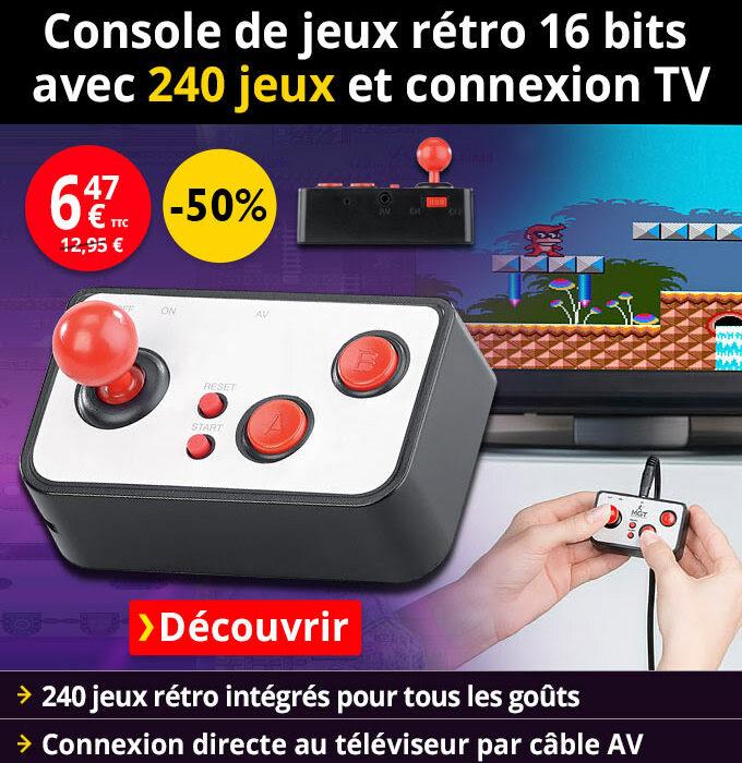 Console de jeux rétro 16 bits avec 240 jeux et connexion TV MGT Mobile Games Technology