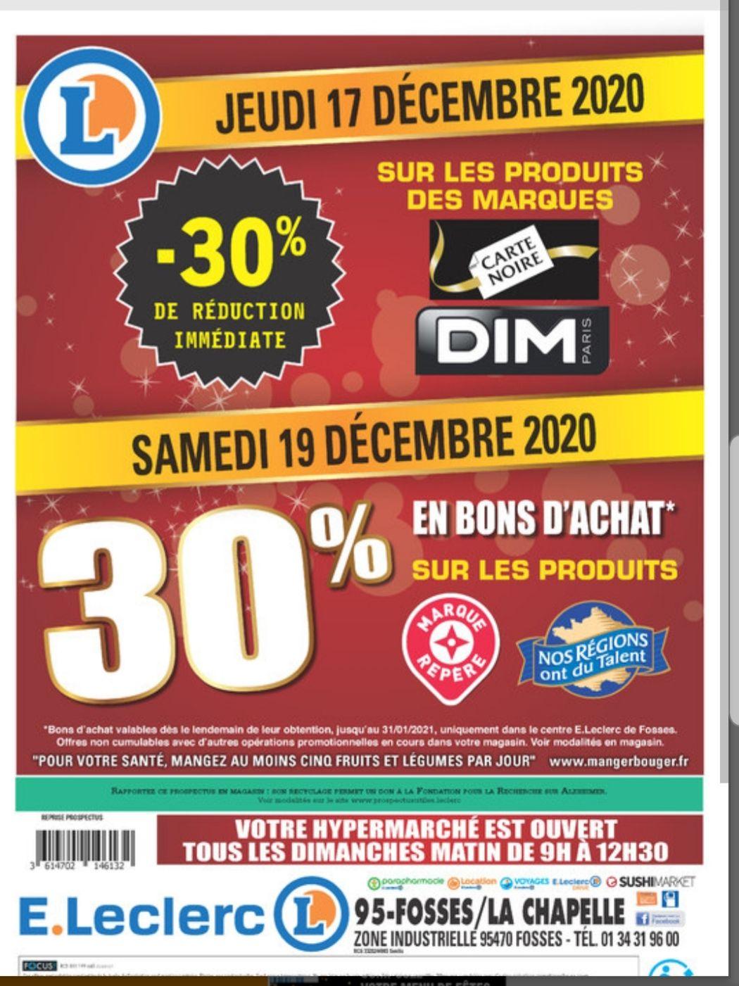 30% offerts en bon d'achat sur les produits Marque Repère & Nos Régions Ont Du Talent - Fosses (95) / La Chapelle-en-Serval (60)