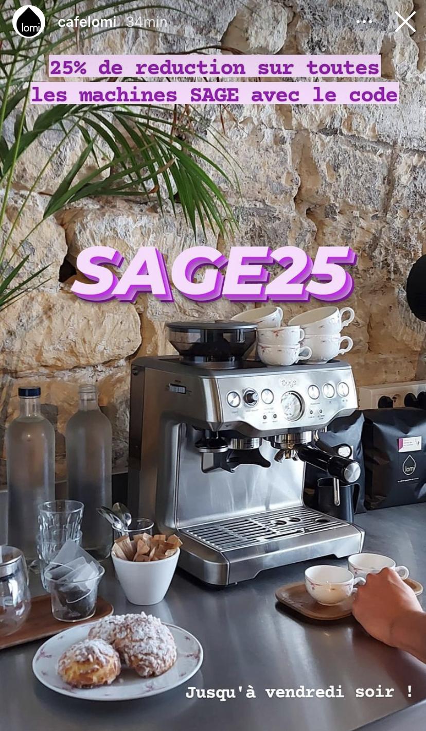 25% de réduction sur la gamme de machine à café expresso broyeur Sage chez Lomi (lomi.coffee)