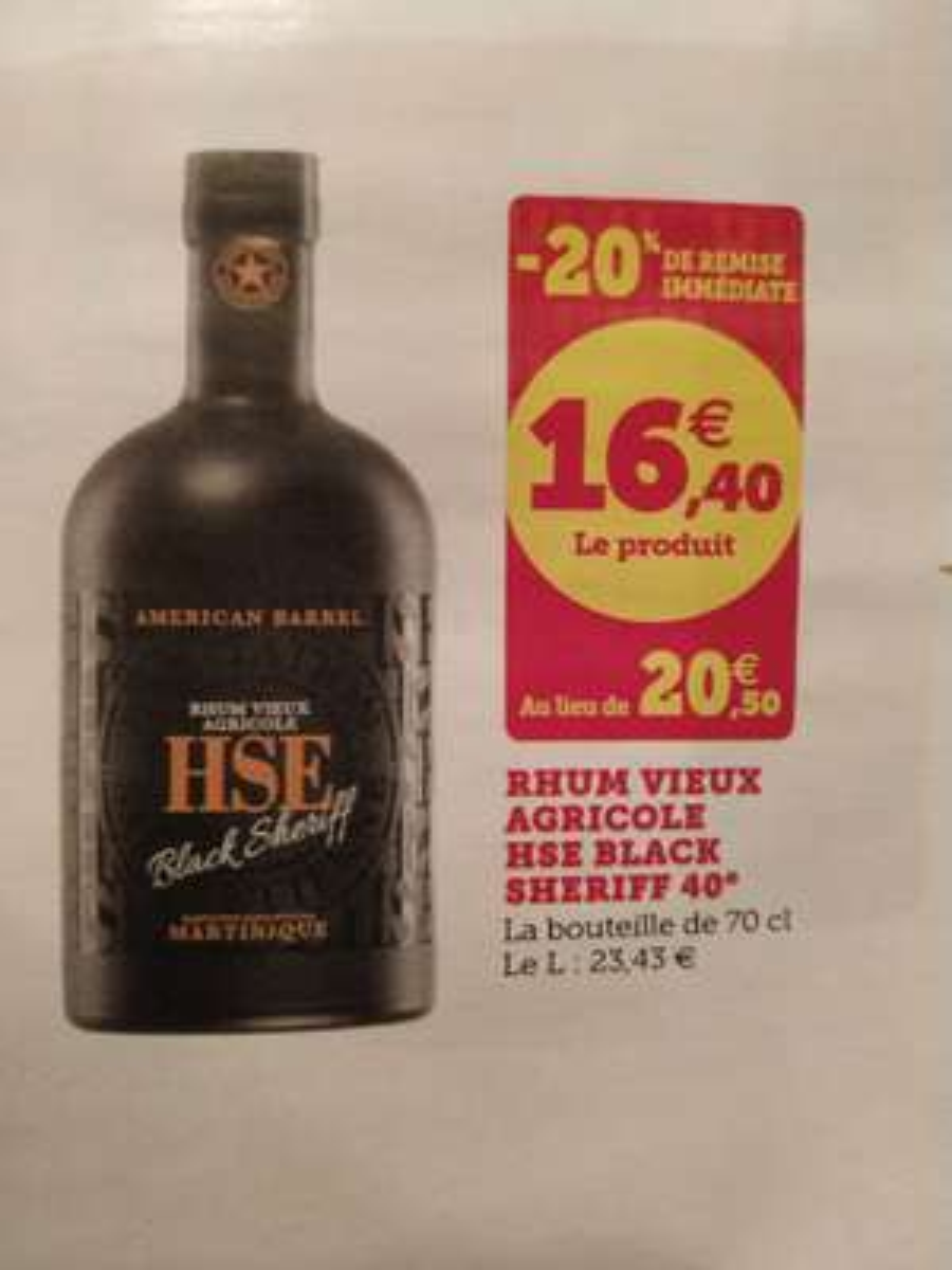Rhum vieux agricole HSE Black Sheriff - 70 cl