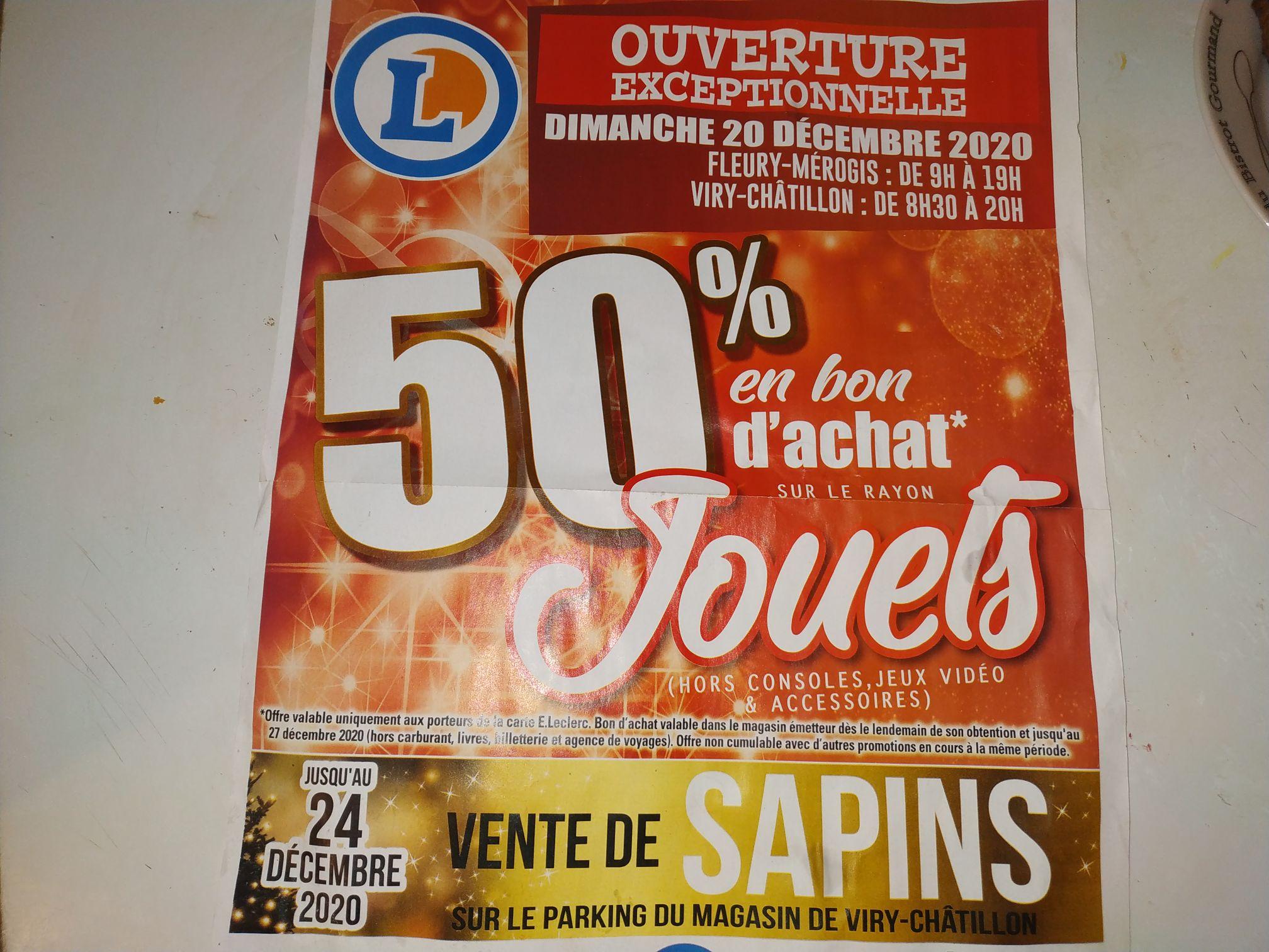 50% offert en bon d'achat sur le rayon jouets - Viry Chatillon / Fleury Merogis (91)