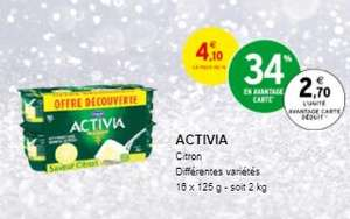 Paquet de 16 yaourts Danone Activia Citron - autres variétés au choix