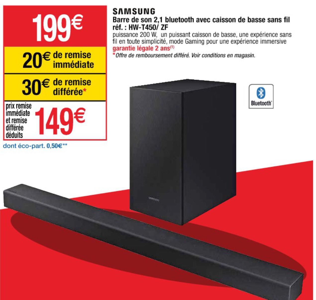 Barre de son 2.1 Samsung HW-T450 - 200W, Bluetooth, Noir (via ODR 30€)